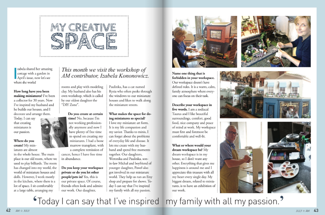 New article in the American Miniaturist - My CREATIVE SPACE July 2018 Issue 183